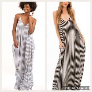 Trendy...Too Cute! Denim Blue & Cream Stripe Dress